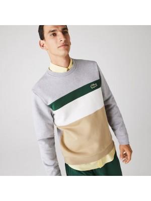 Sweatshirt Lacoste SH2175 9A8 Beige Blanc Vert Gris Chine